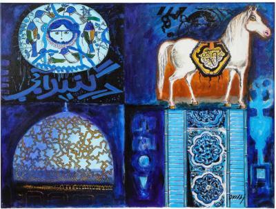 Nasser Ovissi Four Blue Squares Oil on Canvas Painting