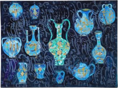 Nasser Ovissi Iranian Born 1934 Ancient Vessels Oil on Canvas Painting