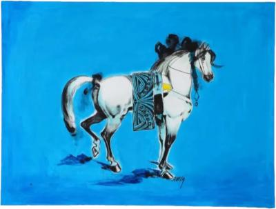Nasser Ovissi Iranian Born 1934 Arabian Horse Oil on Canvas Painting