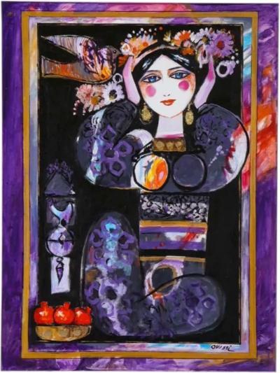 Nasser Ovissi Iranian Born 1934 Pomegranate Girl Oil on Canvas Painting