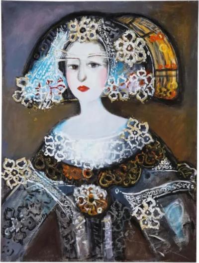 Nasser Ovissi Iranian Born 1934 Queen Isabella I of Spain Oil on Canvas