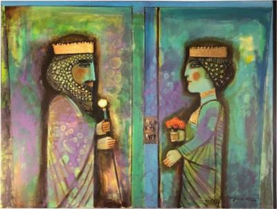 Nasser Ovissi Nasser Ovissi Iranian Born 1934 Darius and Atossa Oil on Canvas Painting