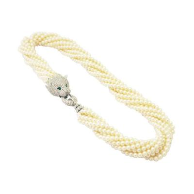 Nat Fresh Water Pearls White CZ Plat over Sterling Silver Lion Head Necklace