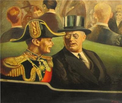 Nat Levy 1939 Painting of King George VI by Listed Artist