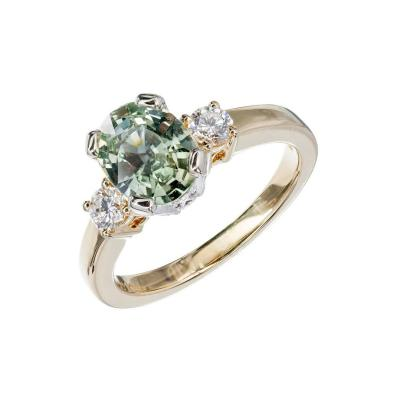 Natalie K Natural Green Sapphire Diamond Gold Three Stone Engagement Ring