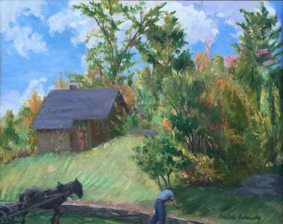 Nathan Dolinsky Country Farm Scene with Man and Horse