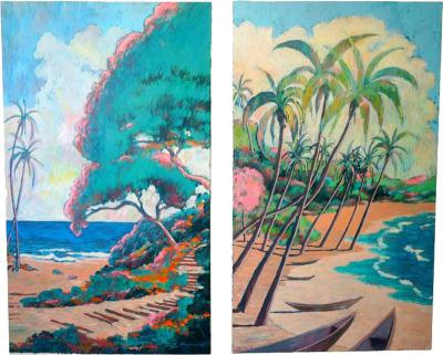 Nathan Solano Set of Two Oil on Canvas Hawaiian Islands by American Artist Nathan Solano