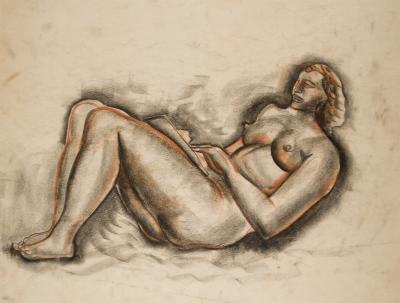Nathaniel Kaz RECLINING NUDE READING