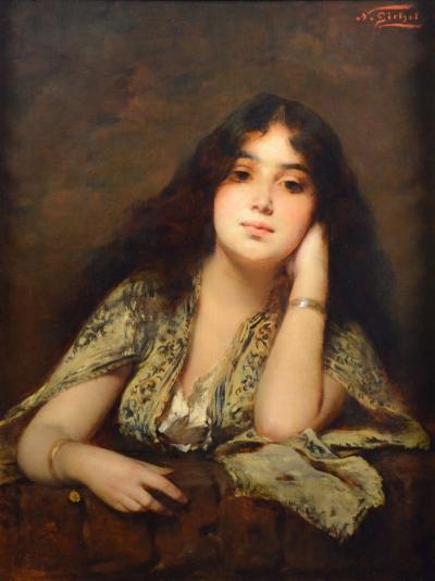 Nathaniel Sichel Arabian Beauty 19th Century Orientalist Oil Painting of Exotic Girl