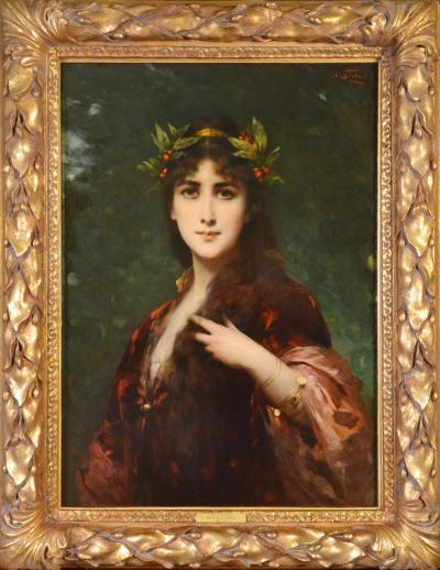 Nathaniel Sichel The Enchantress Large 19th Century French Belle Epoque Portrait Oil Painting