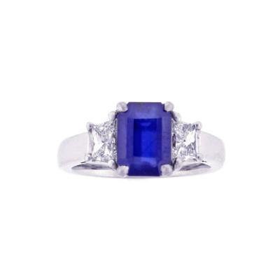 Natural 2 41 Carat Burma No Heat AGL Sapphire Diamond Platinum Ring