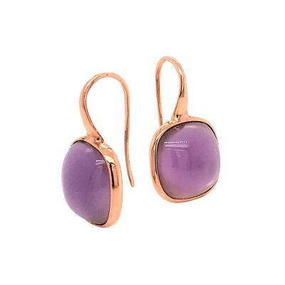 Natural Amethyst on Pink Gold 18 K Drop Earrings