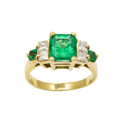 Natural Emerald and Diamond Engagement Ring