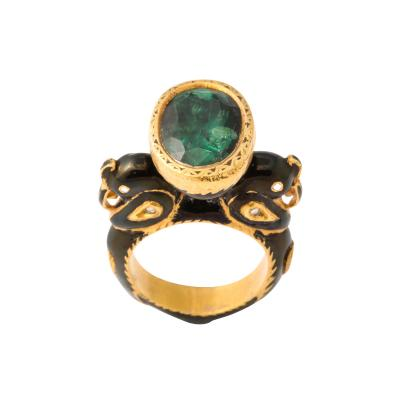 Natural Emerald and Diamonds in Enameled 18 kt Gold Setting Flanked By Birds
