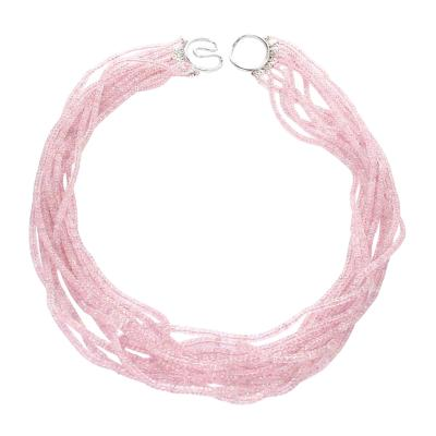 Natural Faceted Pastel Pink Sapphire Faceted Beads Choker Necklace 18K White