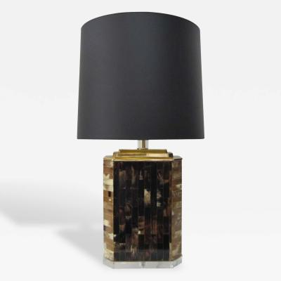 Natural Horn Tile Inlay Lamp with Brass and Lucite Appointments