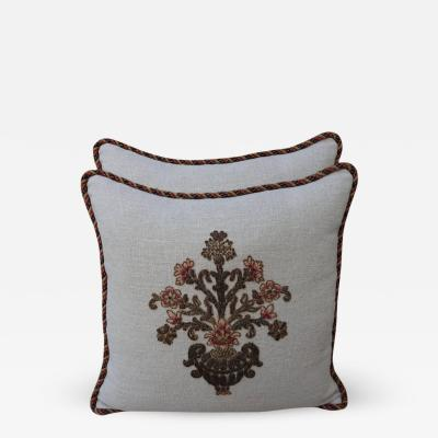 Natural Linen Pillows with Metallic Embroidered Appliques Pair