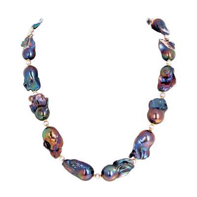 Natural Multi color Glowing Baroque Pearls w Vermeil Diamond Clasp