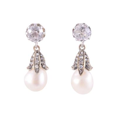Natural Pearl Diamond Drop Earrings