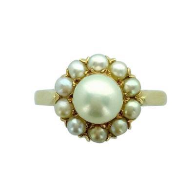 Natural Pearl and Yellow Gold Ring