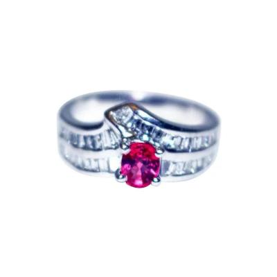 Natural Pigeon Blood Ruby and Diamond Ring in Platinum