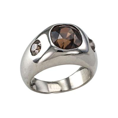Natural Pink Brown Zircon and Brown Diamond Three Stone Ring