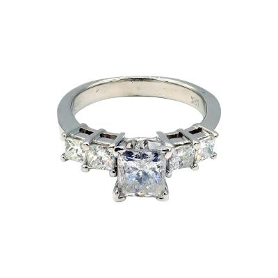 Natural Princess cut Diamond Engagement Ring or Wedding Band in 14KT White Gold
