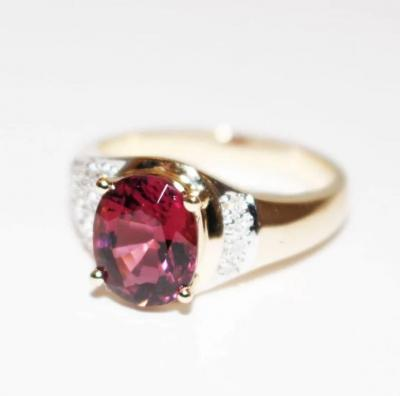 Natural Rubellite Raspberry Pink Tourmaline and Diamond Ring in 14KT Yellow Gold