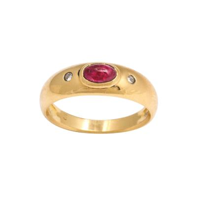 Natural Ruby and Diamond Gold Gypsy Ring