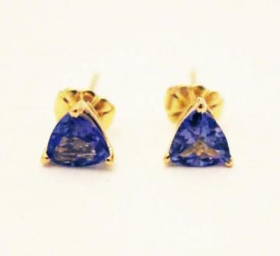 Natural Tanzanite Trillion Stud Earrings 14KT Yellow Gold