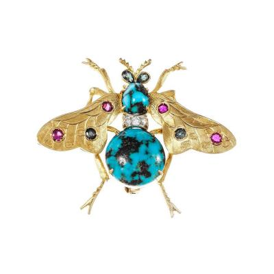 Natural Turquoise Ruby Sapphire Diamond Gold Bee Brooch