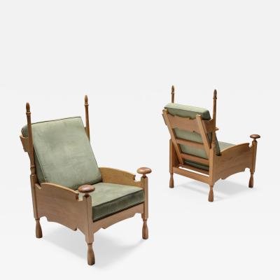 Natural oak Throne lounge chairs 1950s