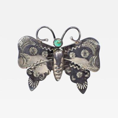 Navajo silver and turquoise butterfly pin