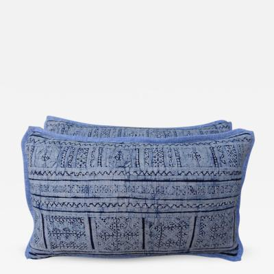 Navy and Light Blue Patterned Batik Pillows Pair