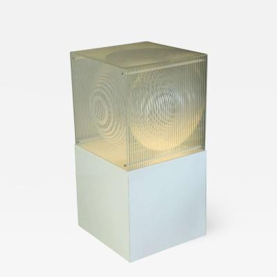 Neal Small Monumental Neal Small Sphere in Cube Lucite Floor Lamp Sculpture 1960s