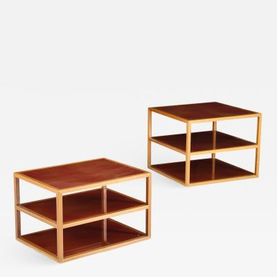 Near Pair of Tiered Side Tables