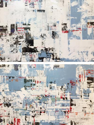 Ned Martin East River Horizontal Diptych colorful contemporary modern abstract diptych
