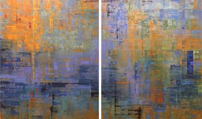 Ned Martin Nocturne Diptych colorful contemporary modern abstract diptych