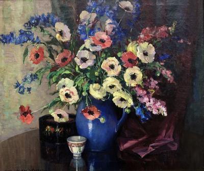 Nell Walker Warner Flowers Blue Pitcher
