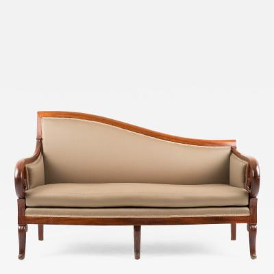 Neo Classic Cubus mahogany upholstered meridienne sofa