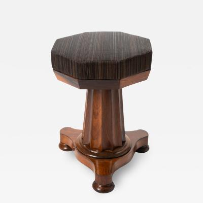 Neo Classic upholstered rosewood pedestal piano stool