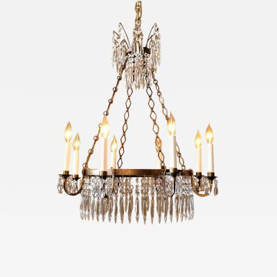 Neoclassic Style Brass and Crystal Chandelier
