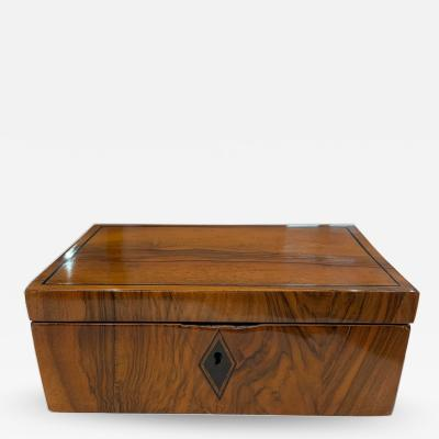 Neoclassical Biedermeier Casket Box Walnut Ebony South Germany circa 1820