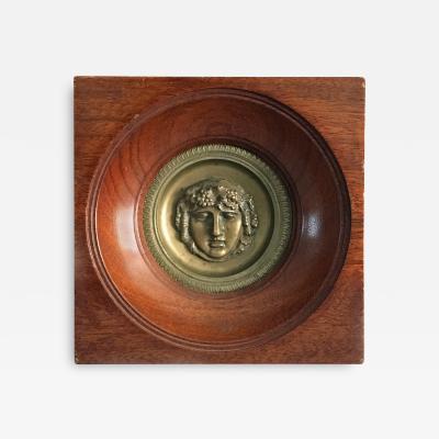 Neoclassical Bronze Plaque of Bacchus