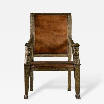Neoclassical Carved Armchair