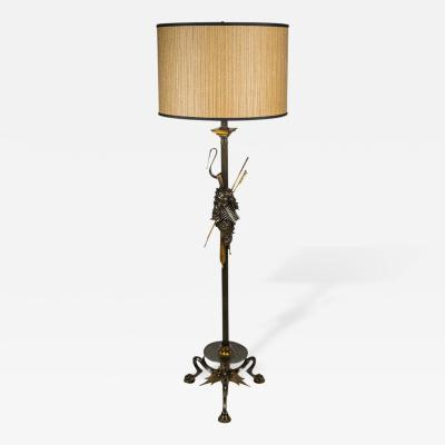 Neoclassical Cast Bronze Bacchus Floor Lamp
