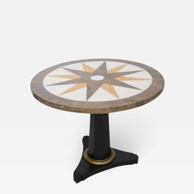Neoclassical Centre Table with Inlaid Star Pattern Marble Top Italy