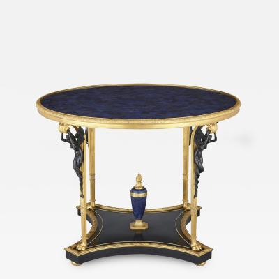 Neoclassical Empire style ormolu lapis lazuli table w patinated bronze mounts