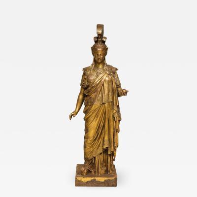 Neoclassical Gilt Iron Sculpture of Athena