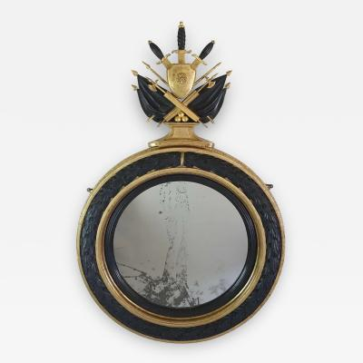 Neoclassical Regency Giltwood and Ebonized Convex Mirror Signed and Dated 1813